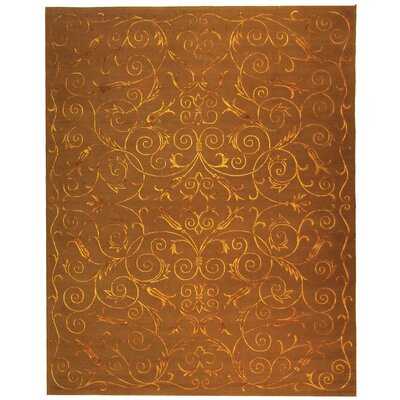 Honora Tibetan Hand Knotted Silk/Wool Deep Bronze Area Rug Rug Size: Rectangle 8 x 10