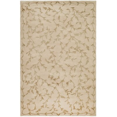 Claussen Tibetan Hand Knotted Silk/Wool Butterscotch Area Rug