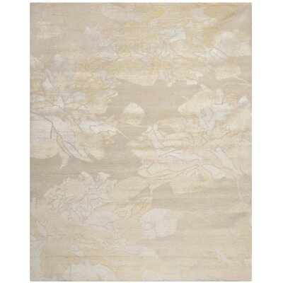 Bernick Tibetan Hand Knotted Creme/Yellow Area Rug Rug Size: Rectangle 9 x 12