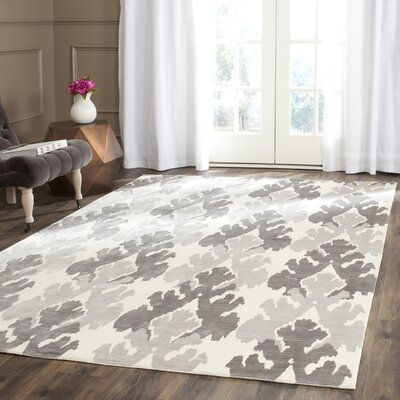 Forrester Tibetan Hand Knotted Pearl/Gray Area Rug Rug Size: Rectangle 6 x 9
