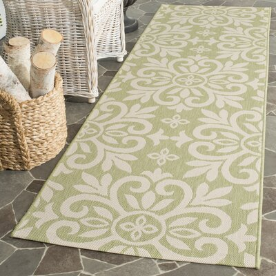 Quayle Green/Tan Area Rug Rug Size: 27 x 82