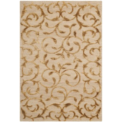 Claussen Tibetan Hand Knotted Silk/Wool Gold Area Rug