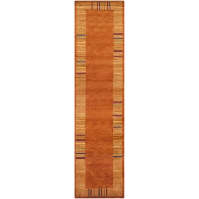 Kneiske Tibetan Hand Knotted Rust Area Rug Rug Size: Runner 26 x 12