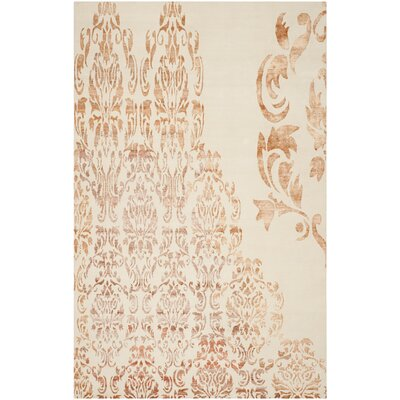 Leet Tibetan Hand Knotted Ivory/Tangerine Area Rug Rug Size: Rectangle 9 x 12