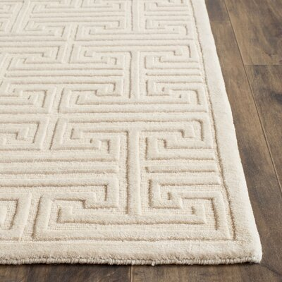 Fogg Tibetan Hand Knotted Pearl Area Rug Rug Size: Rectangle 9 x 12