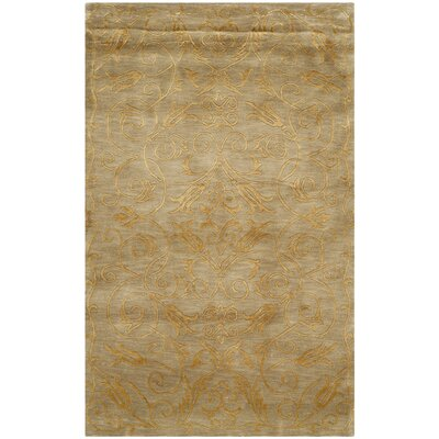 Honora Tibetan Hand Knotted Silk/Wool Green/Gold Area Rug Rug Size: Rectangle 3 x 5