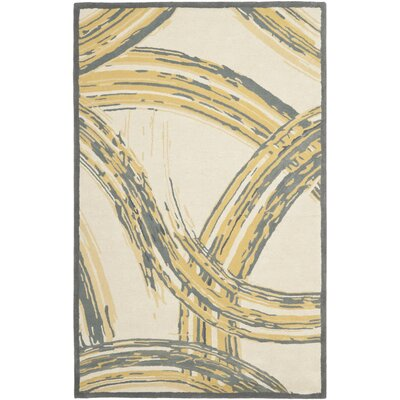 Ghent Paint Strokes Hand Tufted Wool/Cotton Cement Area Rug Rug Size: Rectangle 26 x 43