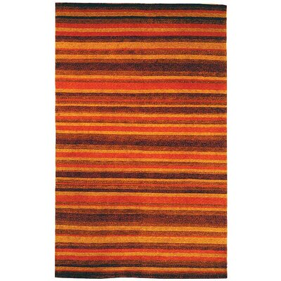 Bernick Tibetan Hand Knotted Rust/Gold Area Rug Rug Size: Rectangle 5 x 76