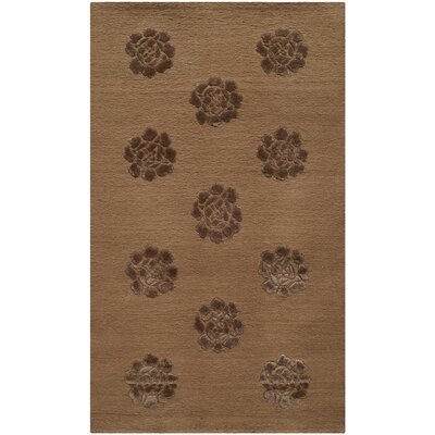 Brosley Medallions Hand Knotted Silk/Wool Cocoa Area Rug