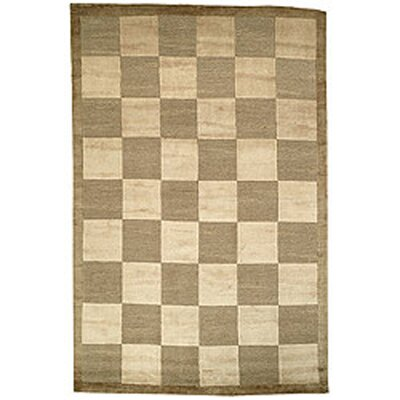 Bernick Tibetan Hand Knotted Wool Green/Beige Area Rug