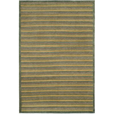 Bernick Tibetan Hand Knotted Green Area Rug