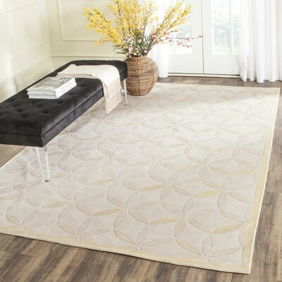 Wildhollow Tibetan Hand Knotted Powder Yellow Area Rug Rug Size: Rectangle 9 x 12