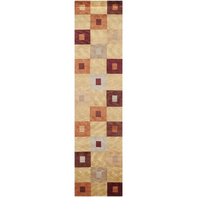 Ventura Hand Knotted Beige/Brown Area Rug Rug Size: Runner 26 x 12