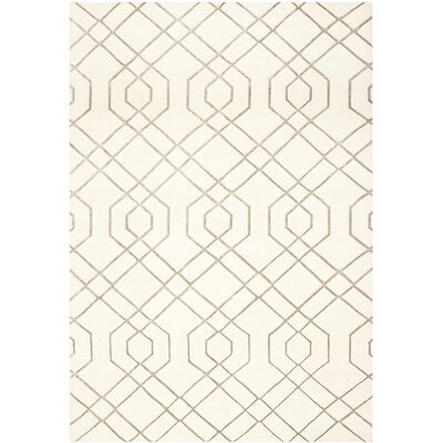 Paramkusham Tibetan Hand Knotted Wool White Area Rug Rug Size: Rectangle 12 x 15