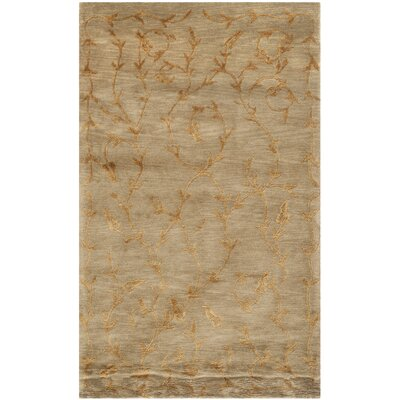 Claussen Tibetan Hand Knotted Silk/Wool Green/Gold Area Rug Rug Size: Rectangle 4 x 6
