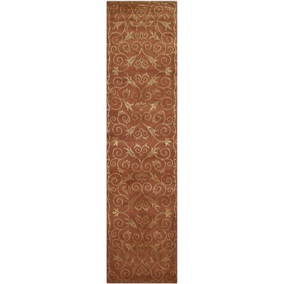 Echevarria Hand Knotted Silk/Wool Rust/Gold Area Rug Rug Size: Runner 26 x 12