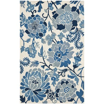 Clarington Floral Hand Tufted Wool/Cotton Azurite Area Rug Rug Size: Rectangle 26 x 43