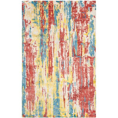 Wildhollow Tibetan Hand Knotted Blue/Yellow/Red Area Rug
