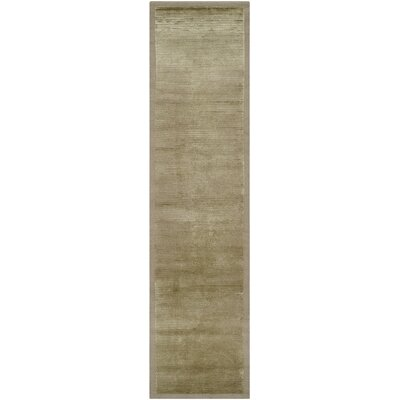 Diller Tibetan Hand Knotted Silk/Wool Olive Area Rug Rug Size: Runner 26 x 10