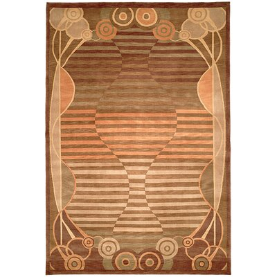 Kneiske Tibetan Hand Knotted Wool Brown/Pink Area Rug Rug Size: Rectangle 9 x 12