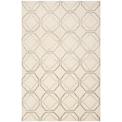 Ivory Geometric Rug Rug Size: Rectangle 8 x 10