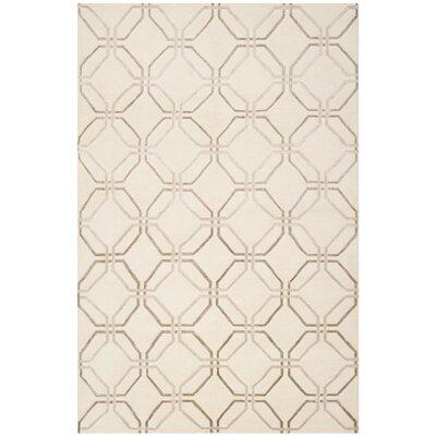 Ivory Geometric Rug Rug Size: Rectangle 8 x 10