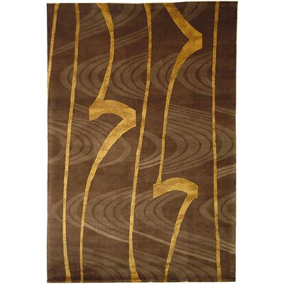 Kneiske Tibetan Hand Knotted Silk/Wool Brown/Gold Area Rug Rug Size: Rectangle 10 x 14