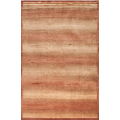 Bernick Tibetan Hand Knotted Silk/Wool Rust Area Rug