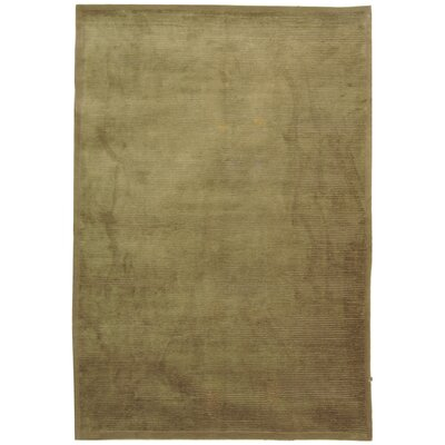 Diller Tibetan Hand Knotted Silk/Wool Olive Area Rug Rug Size: Rectangle 6 x 9