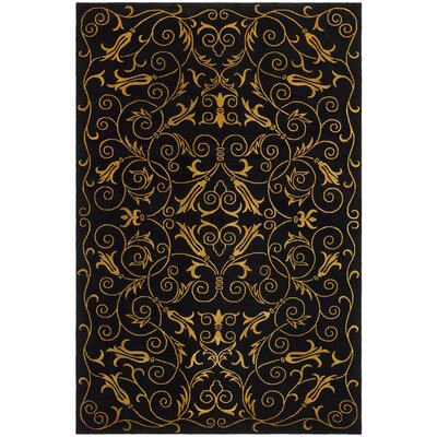 Honora Tibetan Hand Knotted Silk/Wool Black Area Rug Rug Size: Rectangle 6 x 9