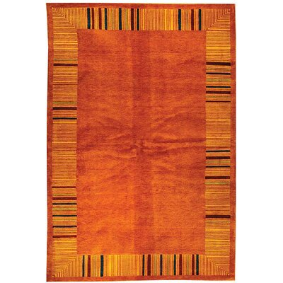 Kneiske Tibetan Hand Knotted Rust Area Rug Rug Size: Rectangle 6' x 9''
