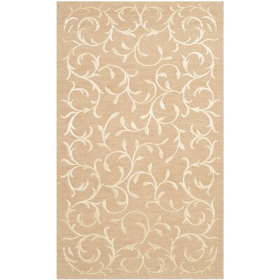 Claussen Tibetan Hand Knotted Silk/Wool Beige Area Rug Rug Size: Rectangle 6 x 9
