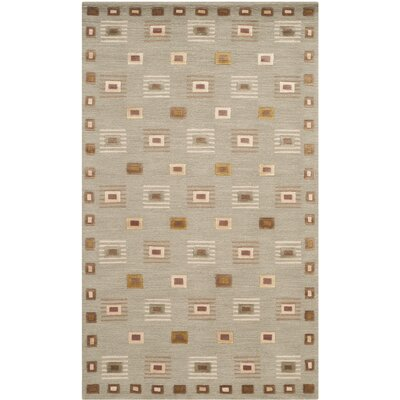 Kneiske Tibetan Hand Knotted Wool Green Area Rug Rug Size: Rectangle 6 x 9