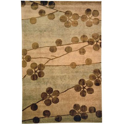 Kneiske Tibetan Hand Knotted Silk/Wool Beige Area Rug Rug Size: Rectangle 3 x 5