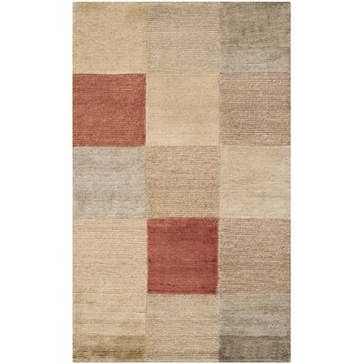 Bernick Tibetan Hand Knotted Beige/Gray Area Rug Rug Size: Rectangle 6 x 9