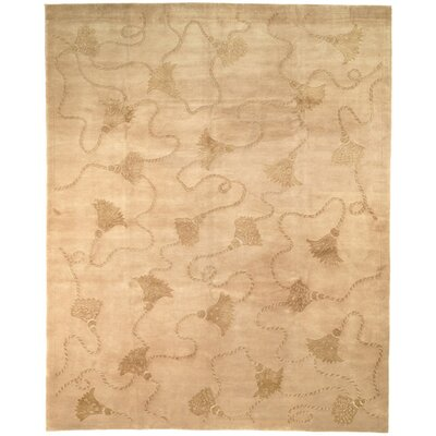 Dilillo Tibetan Hand Knotted Silk/Wool Ivory Area Rug Rug Size: Rectangle 6 x 9