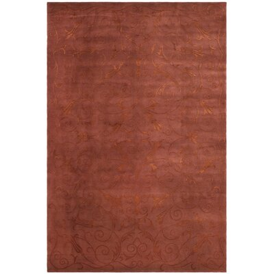 Honora Tibetan Hand Knotted Silk/Wool Raspberry Area Rug Rug Size: Rectangle 6 x 9