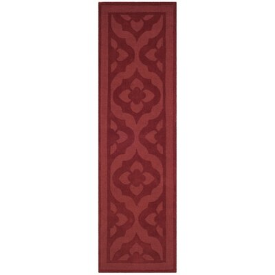 Trombetta Hand Tufted/Hand Loomed Wool Vermillion Area Rug Rug Size: Runner 23 x 8