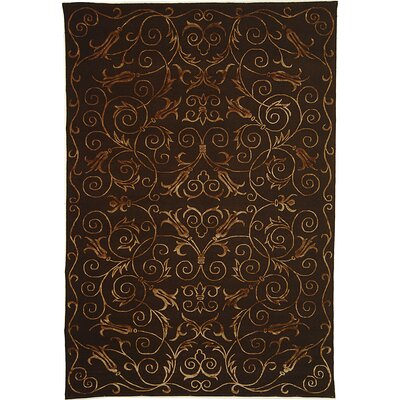 Billie Hand Knotted Silk/Wool Chocolate Area Rug Rug Size: Rectangle 9 x 12