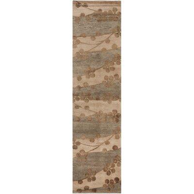 Kneiske Tibetan Hand Knotted Silk/Wool Beige Area Rug Rug Size: Runner 26 x 12