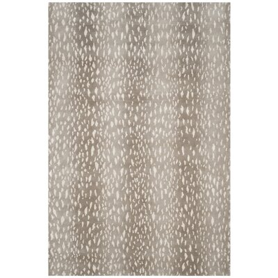 Honora Tibetan Hand Knotted Gray Area Rug Rug Size: Rectangle 5 x 8