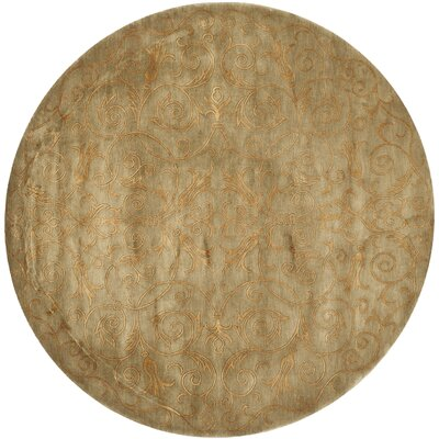 Honora Tibetan Hand Knotted Silk/Wool Green/Gold Area Rug Rug Size: Round 6 x 6