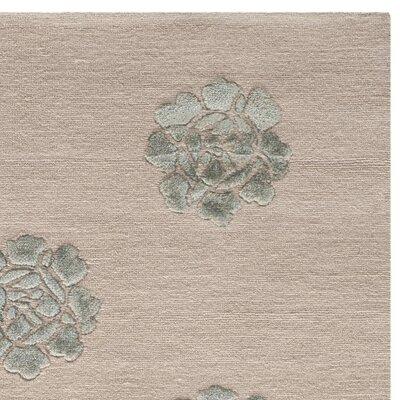 Brosley Medallions Hand Knotted Silk/Wool Aqua/Marine Area Rug