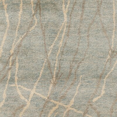 Sunny Hand Knotted Silk/Wool Blue/Herron Area Rug Rug Size: Rectangle 26 x 43