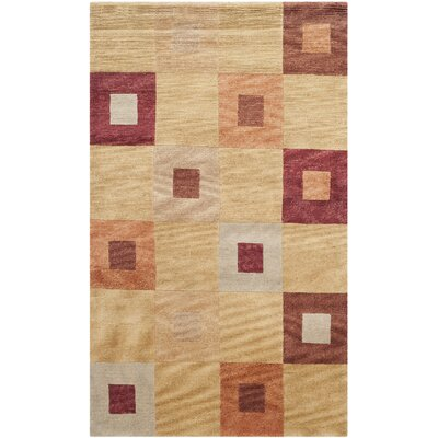 Ventura Hand Knotted Beige/Brown Area Rug Rug Size: Rectangle 5 x 76