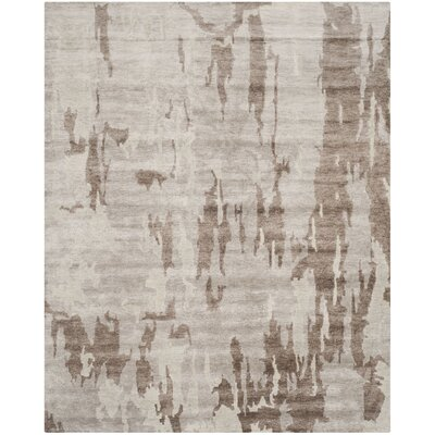 Elrod Tibetan Hand Knotted Silver/Gray Area Rug Rug Size: Rectangle 9 x 12