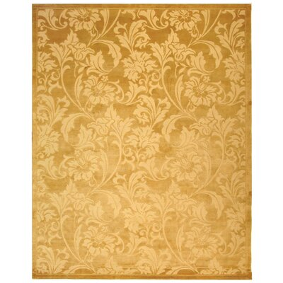 Claussen Tibetan Hand Knotted Silk/Wool Light Gold Area Rug Rug Size: Rectangle 9 x 12