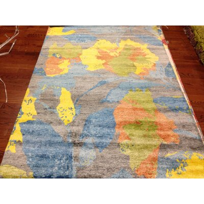 Bernick Tibetan Hand Knotted Gray/Blue/Yellow Area Rug