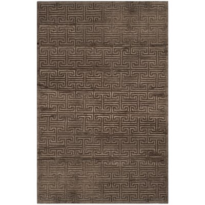 Fogg Tibetan Hand Knotted Walnut Area Rug Rug Size: Rectangle 6 x 9
