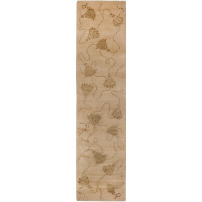 Dilillo Tibetan Hand Knotted Silk/Wool Ivory Area Rug Rug Size: Runner 26 x 10